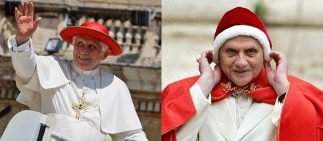 Benedicto XVI con gorros saturno y camauro