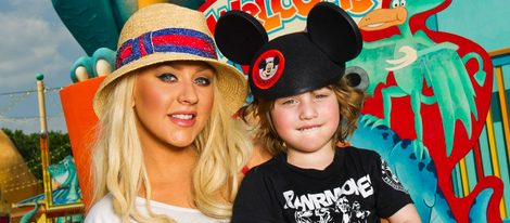 Christina Aguilera y su hijo Max Liron