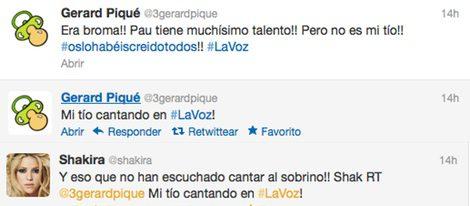 Cuentas de Twitter de Gerard Piqué y Shakira