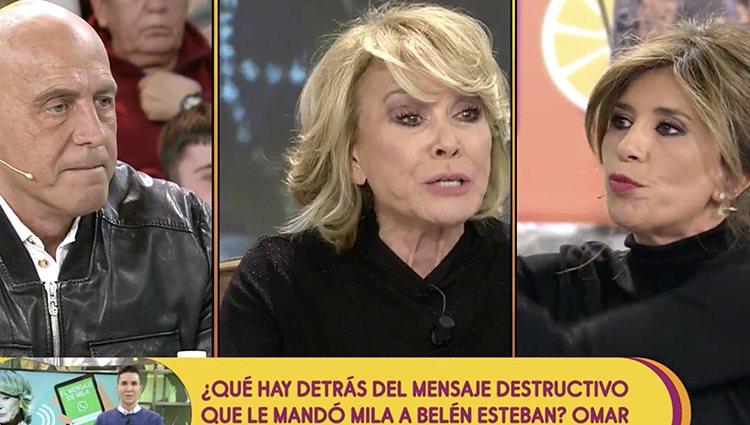 Kiko Matamoros, Mila Ximénez y Géma López en 'Sálvame'| Foto: Telecinco.es