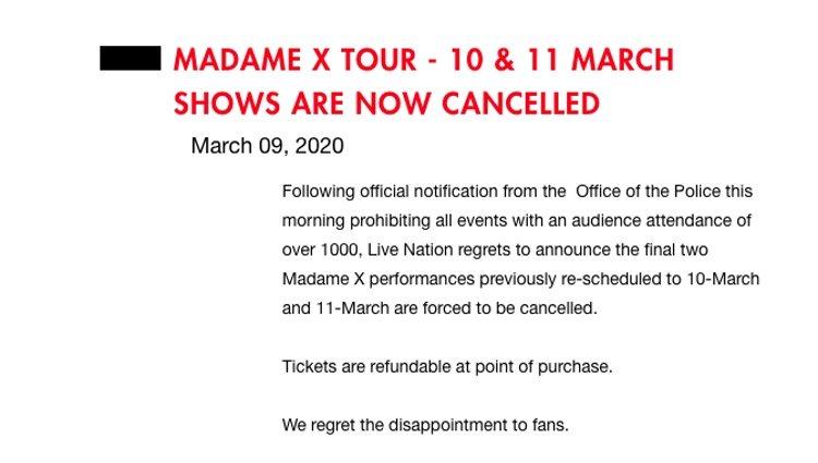 Comunicado oficial de Madonna/Fuente: Madonna.es
