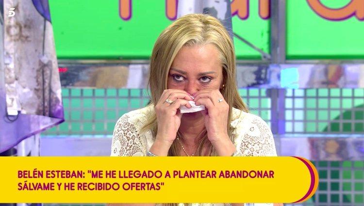 Belén Esteban no puede evitar emocionarse / Telecinco.es
