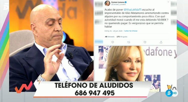 Kiko Matamoros responde al tuit de Carmen Lomana