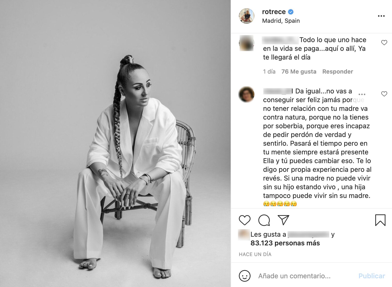 Rocío Flores, harta de recibir amenazas diariamente   Foto: Instagram
