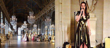 La sala de los espejos del Pacio de Versalles y Lana del Rey actuando en la fiesta (Instagram)
