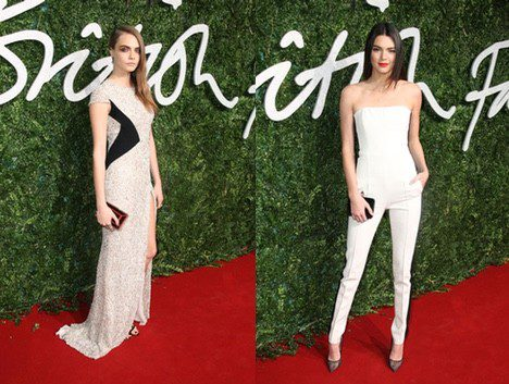 Las modelos Cara Delevingne y Kendall Jenner acuden a los 'British Fashion Awards 2014'