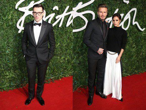 Diseñadores vencedores de la noche: Erdem y Victoria Beckham, con su marido David Beckham