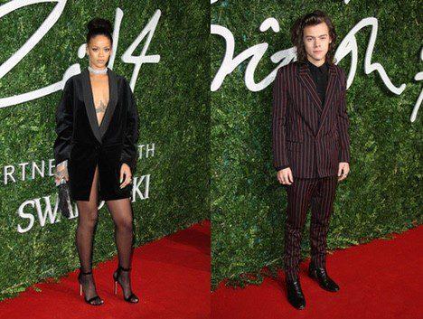 Los cantantes Rihanna y Harry Syles acuden a los 'British Fashion Awards 2014'