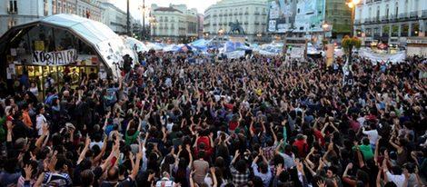 Manifestación del movimiento 15-M en Sol