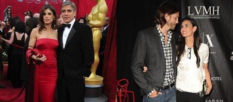 Elisabetta Canalis y George Clooney; Ashton Kutcher y Demi Moore