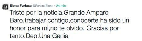 Elena Furiase se despide de Amparo Baró en Twitter