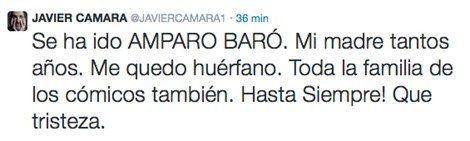 Javier Cámara muestra sus condolencias por el fallecimiento de Amparo Baró en Twitter