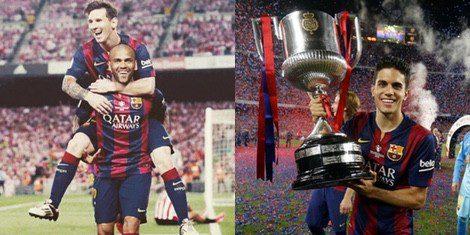 Leo Messi, Dani Alves y Marc Bartra celebran el triunfo del Barça en la Copa del Rey 2015