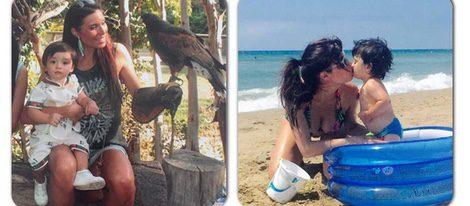 Pilar Rubio con su hijo Sergio en el zoo y en la playa