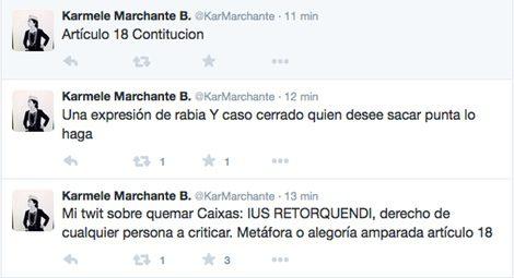 Palabras de Karmele Marchante en Twitter