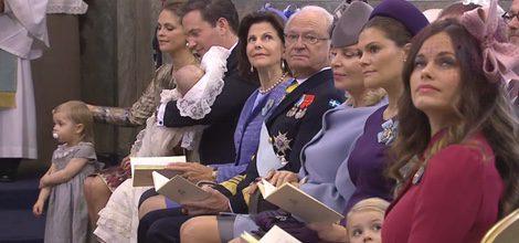 La Familia Real Sueca en el bautizo del Príncipe Nicolás