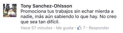 Uno de los mensajes de Tony Sánchez-Ohlsson recogidos por la cuenta de Twitter @ShadyFactES