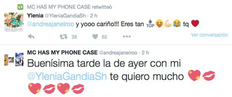 Andrea Janeiro e Ylenia hablando en Twitter