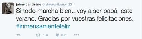 Jaime Cantizano confirma que será papá