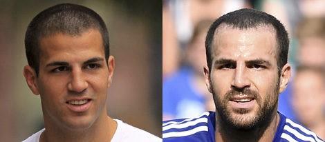 Cesc Fàbregas con el pelo rapado en 2009 y en 2014   Gtres