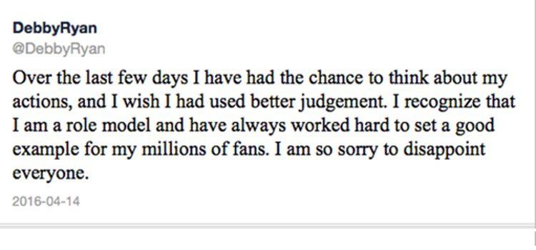 Debby Ryan se disculpa a sus seguidores con este mensaje