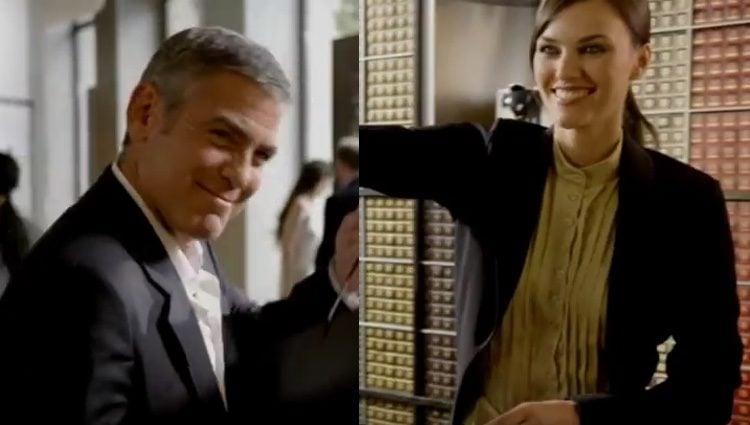 George Clooney y Helen Lindes en el anuncio de Nespresso