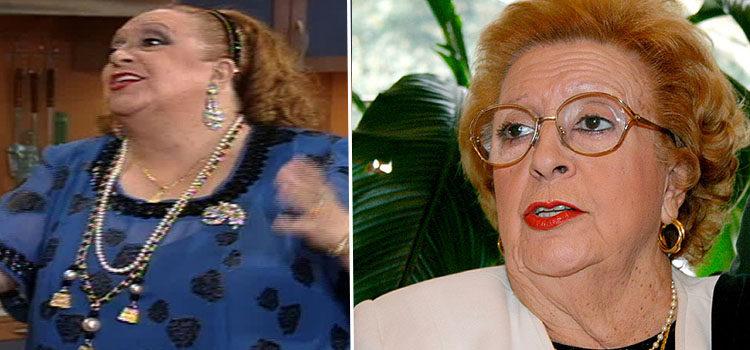 Florinda Chico en 'La casa de los líos' (izq) y en 2011 (der)