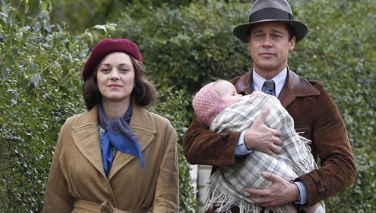Marion Cotillard y Brad Pitt en la película 'Aliados'
