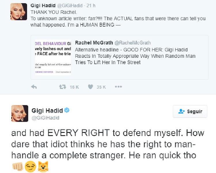 Agradecimiento de Gigi Hadid vía Twitter
