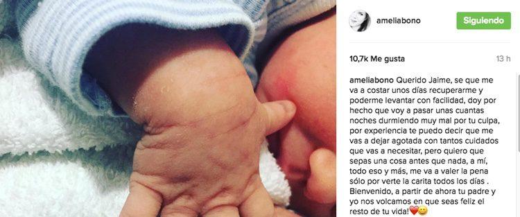 Amelia Bono dedica unas palabras a su hijo Jaime / Imagen: Instagram
