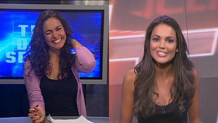 Lara Álvarez durante sus inicios periodísticos en televisión