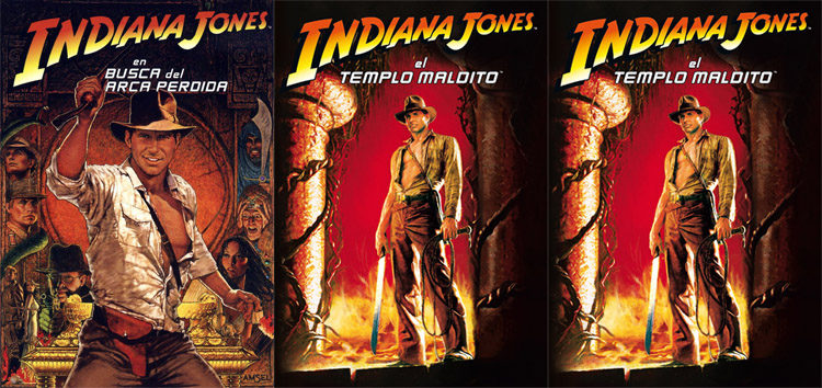 Los carteles de las tres primeras entregas de la saga 'Indiana Jones'
