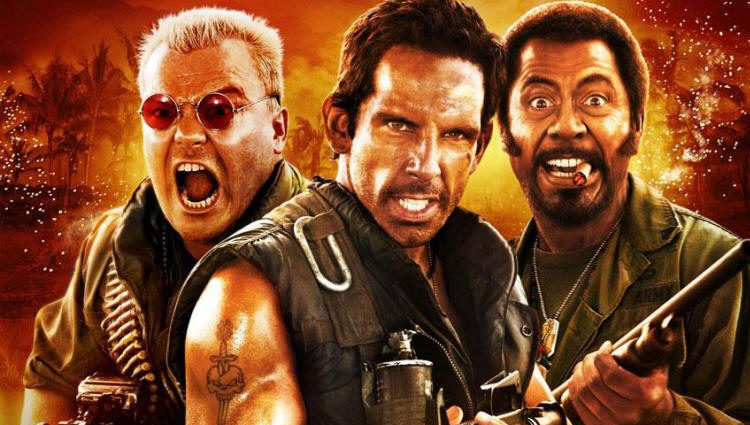 Jack Black, Ben Stiller y Robert Downey Jr. en el cartel de 'Tropic Thunder: ¡Una guerra muy perra!'
