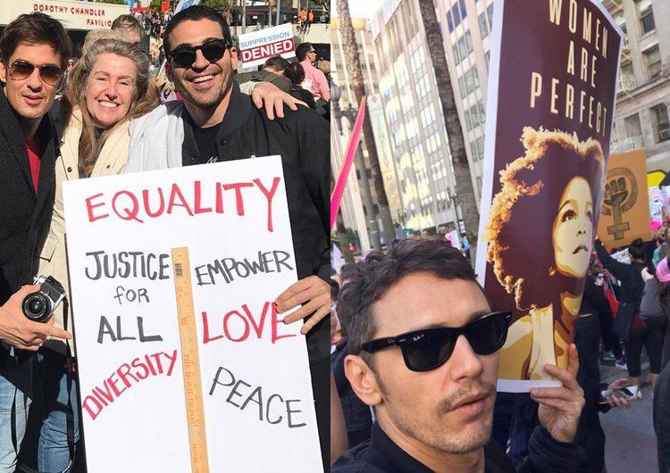 Miguel Ángel Silvestre y James Franco en la Marcha de las Mujeres en Washington/ Fuente: Instagram