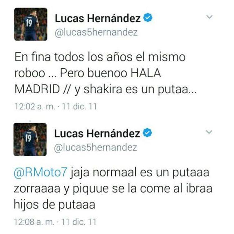 Los tuits del pasado de Lucas Hernández