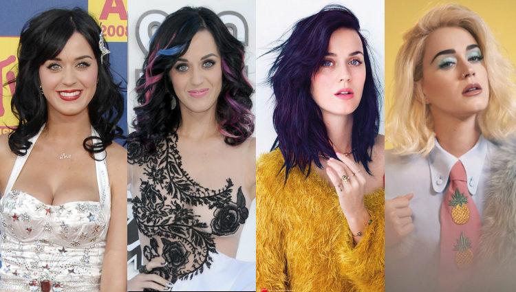 Diferentes looks de Katy Perry en las distintas etapas de su carrera