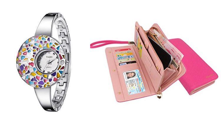 Reloj de colores y cartera de mano