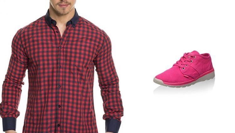 Camisa de cuadros y zapatillas de deporte