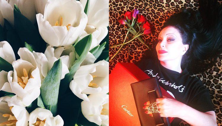 Las flores de Pelayo Díaz y la cartera de Cartier de Alaska/ Fuente: Instagram