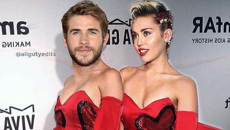 Fotomontaje hecho por Miley Cyrus a su novio Liam Hemsworth por San Valentín/ Fuente: Instagram