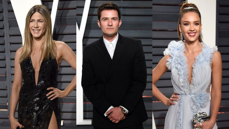Jennifer Aniston, Orlando Bloom y Jessica Alba en la fiesta de Vanity Fair