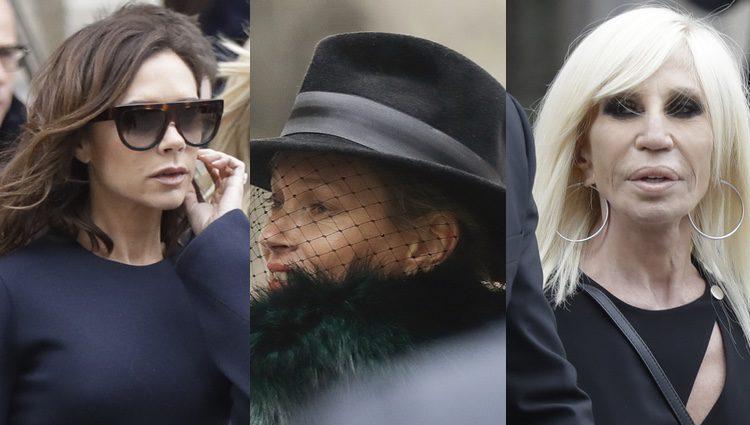 Victoria Beckham, Kate Moss y Donatella versace en el funeral de Franca Sozzani