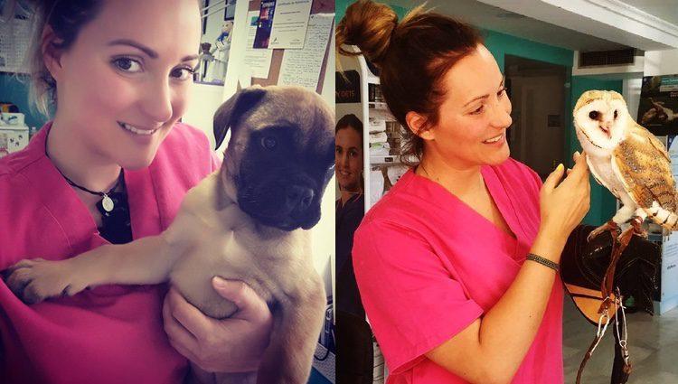 Rosi Arcas en la clínica veterinaria / Instagram