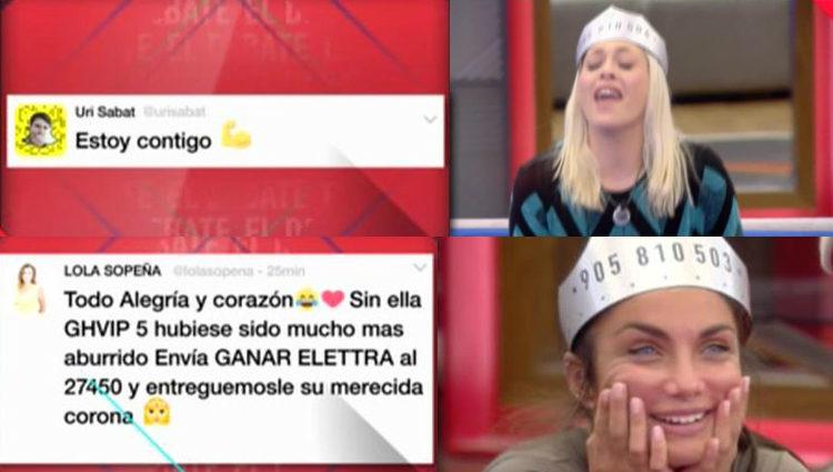 Daniela y Elettra se emocionan con los tweets de sus amigos | telecinco.esn