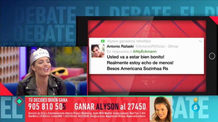 Alyson recibe un mensaje de Antônio | telecinco.es