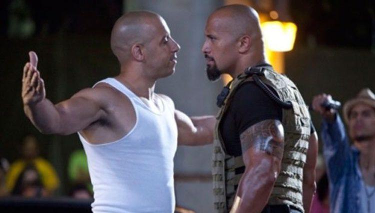 Vin Diesel y La Roca en una escena