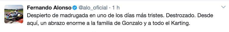 El pésame de Fernando Alonso en Twitter