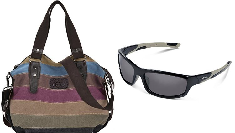 Bolso de colores y gafas de sol