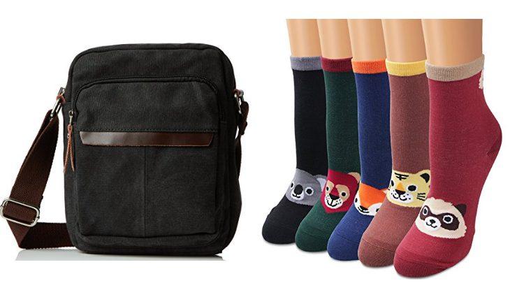 Bolso bandolera y calcetines con animales