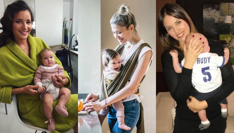 Las modelos Malena Costa, Carla Pereyra y Helen Lindes con sus respectivos bebés   Instagram
